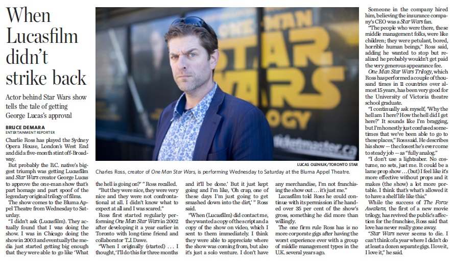 OneManStarWars_Toronto Star_April 27, 2016